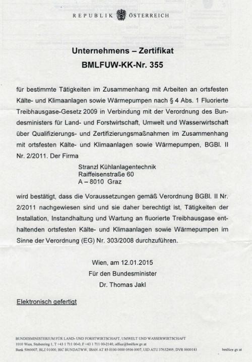 Zertifikat stranzl kuehlanlagentechnik